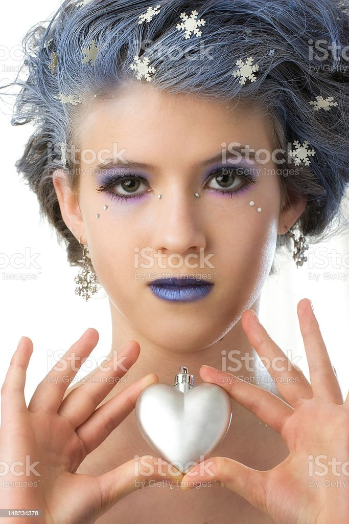Snow Princess and the Heart royalty-free stock photo