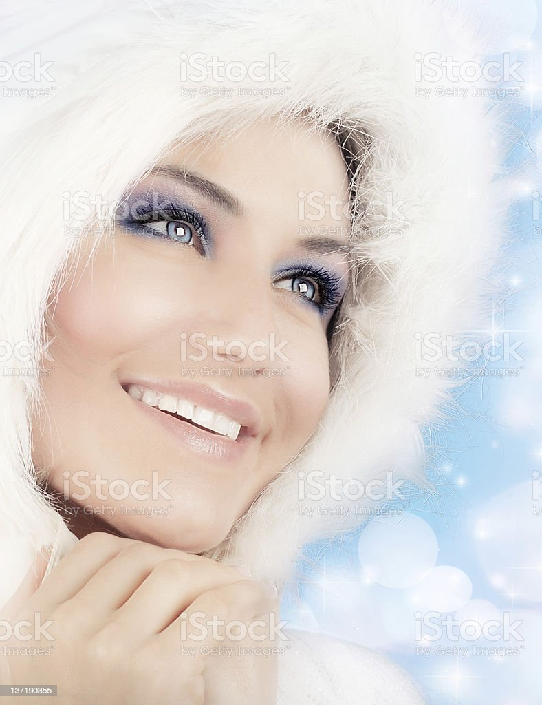 Snow queen, beautiful woman in Christmas style stock photo