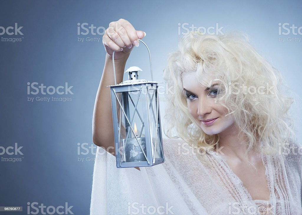 Snow queen with a latern royalty-free stock photo
