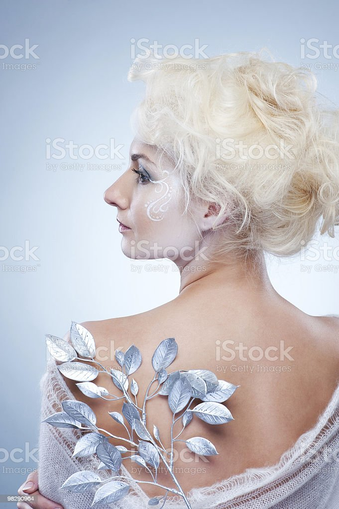 Snow queen with a magic twig royalty-free stock photo