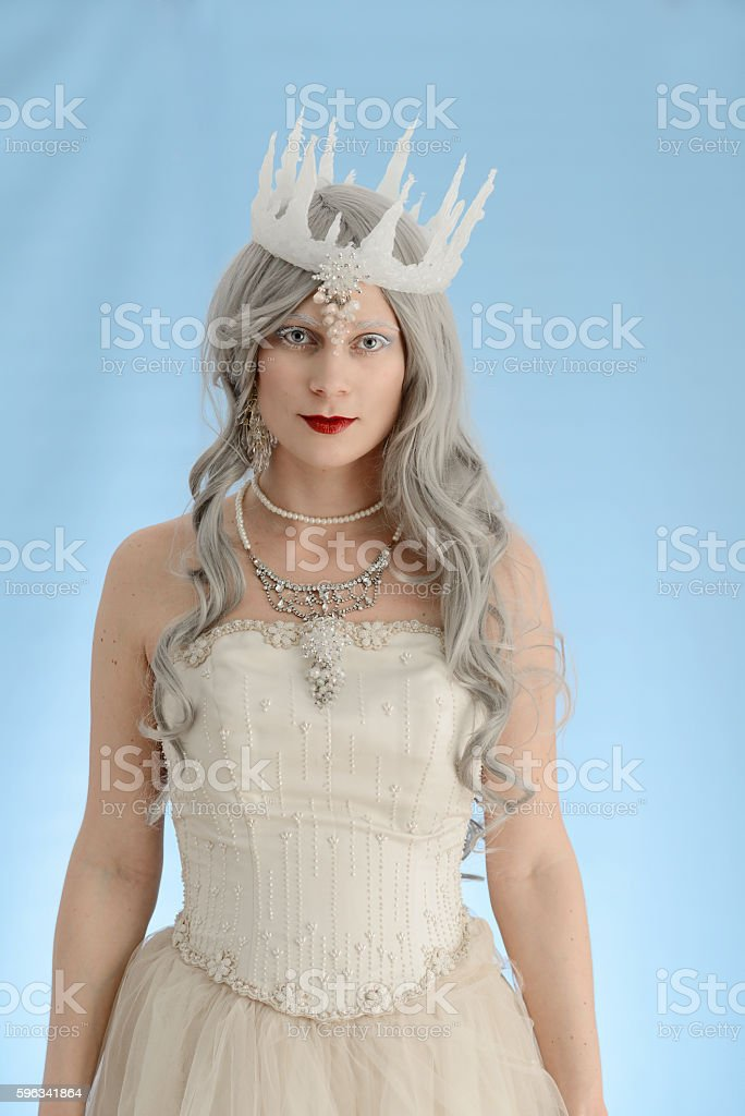 snow queen with blue background royalty-free stock photo