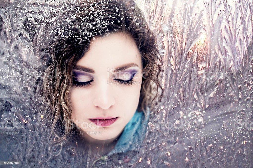 Snow queen, woman winter zbiór zdjęć royalty-free