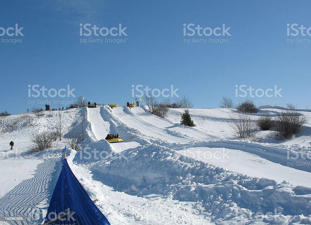 Snow rafting stock photo