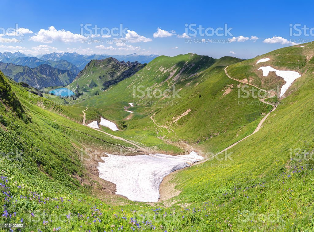 Snow remains in the Allgau Alps stock photo