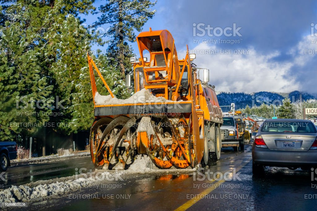 December 25, 2018 South Lake Tahoe - Snow removal equipment working...