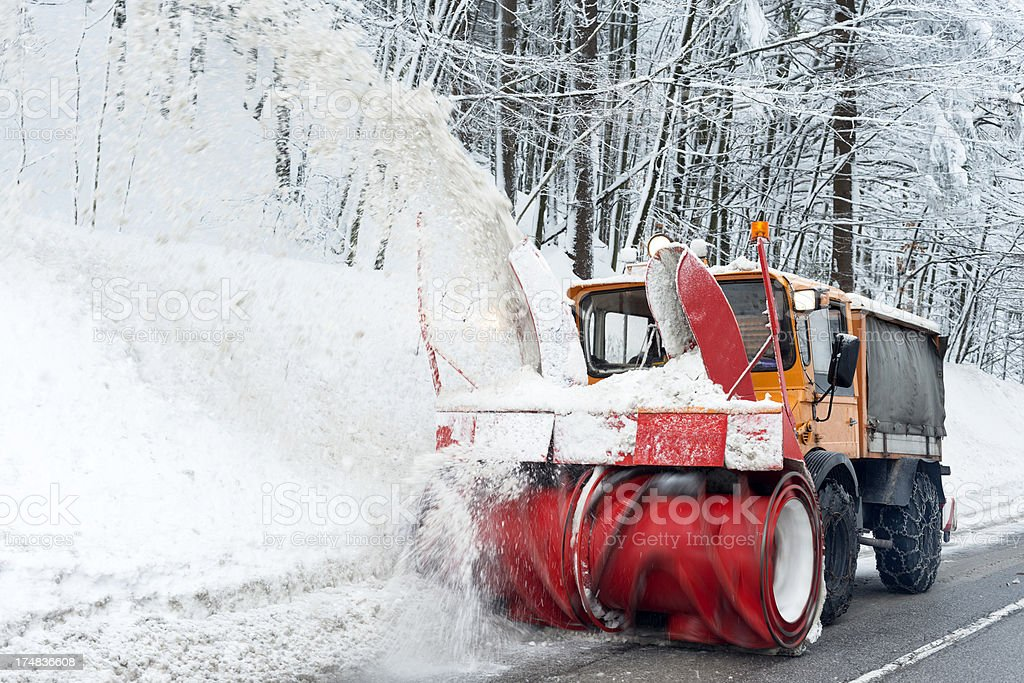 Snow Removal in Forest Slovenia Europe royalty-free stock photo