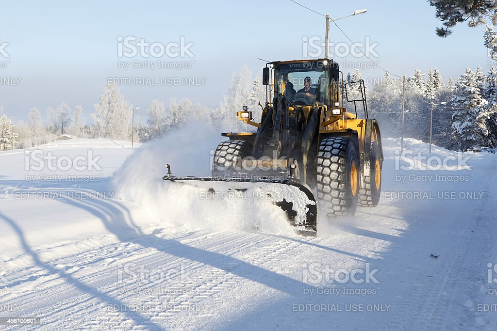 Snow Removal in Forserum, Sweden stock photo