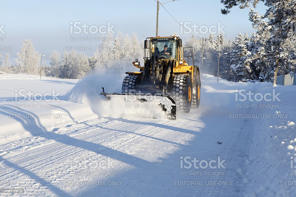 Snow removal using a Volvo Wheel Loader stock photo