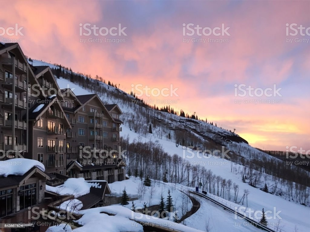 Snow resort stock photo