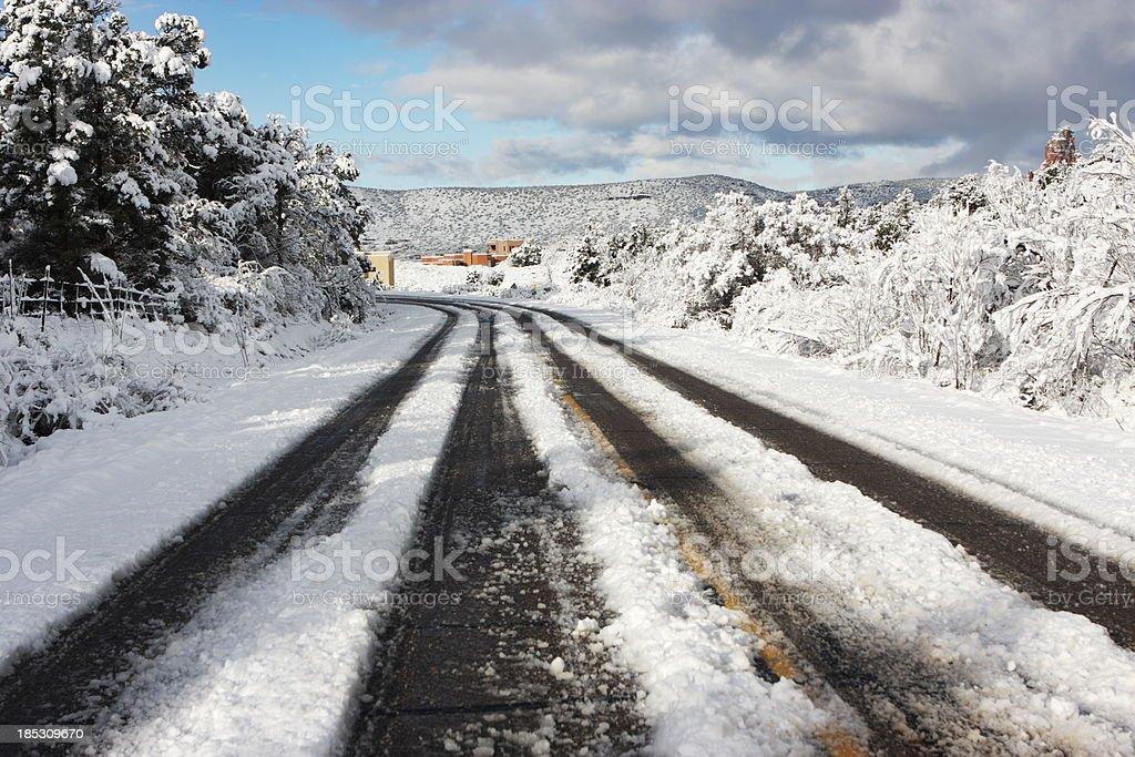Snow Road Tracks Winter royalty-free stock photo