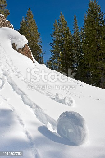 Snow roller is a rare meteorological phenomenon, Snow Patterns; Winter in Yellowstone National Park, Wyoming