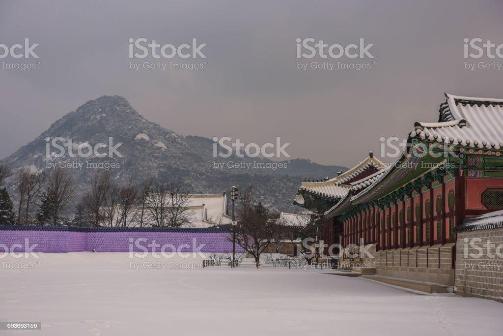 snow scape palace stock photo