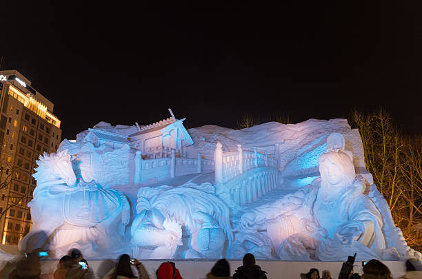 snow sculpture of ise jingu modern legend - sapporo stock photos and pictures
