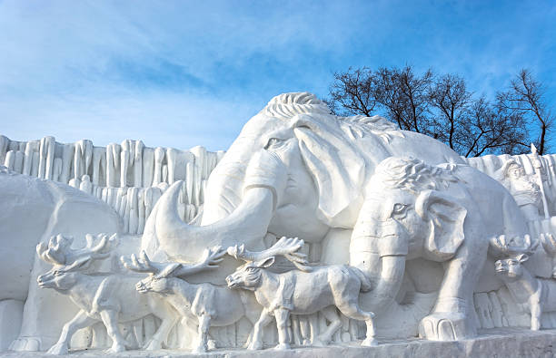 Snow sculpture Harbin, China - January 9, 2014: Snow  sculpture. Located in Sun Island Park of Harbin City, Heilongjiang Province, China. harbin stock pictures, royalty-free photos & images