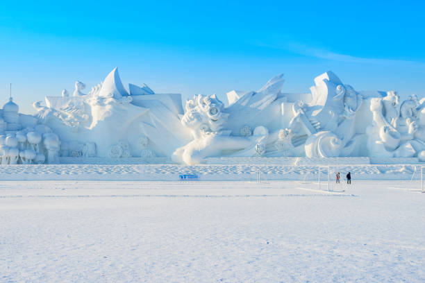 Snow sculpture Harbin, China - January 13, 2016: Snow sculpture. Located in The 28th Harbin Sun Island International Snow Sculpture Art Exposition In China. Harbin City, Heilongjiang, China. harbin stock pictures, royalty-free photos & images