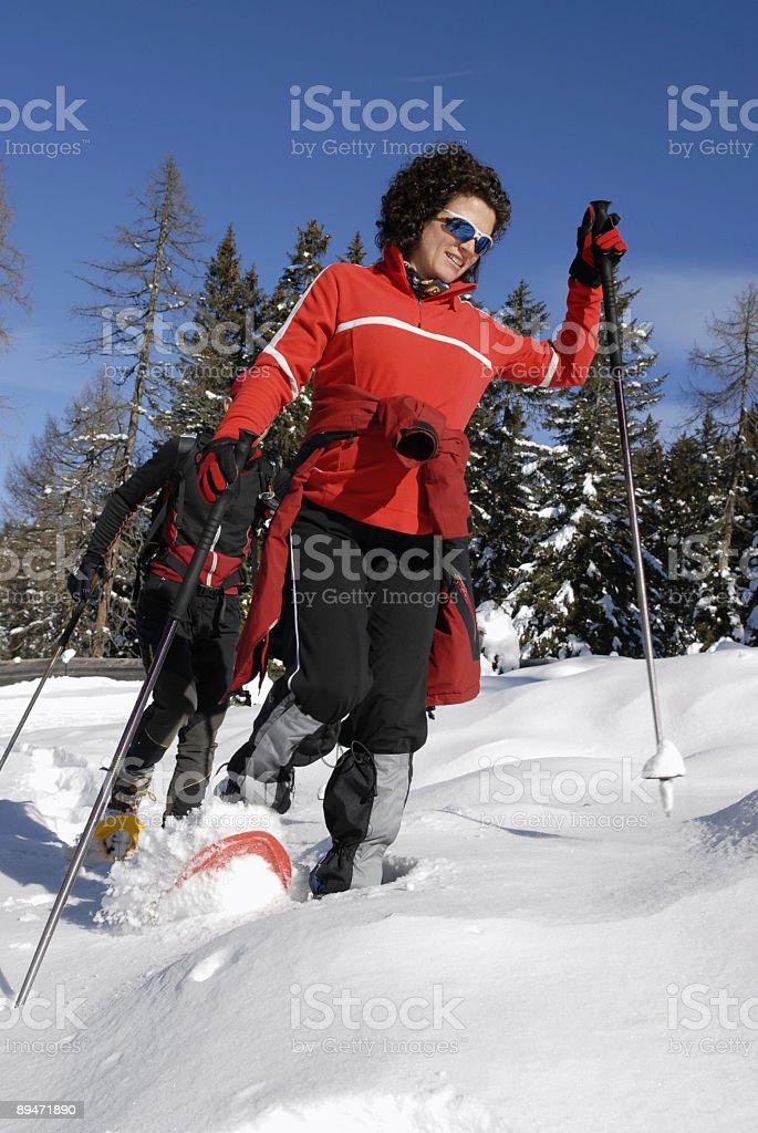 snow shoe hike royalty-free stock photo