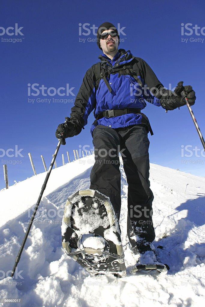 snow shoe trail stock photo