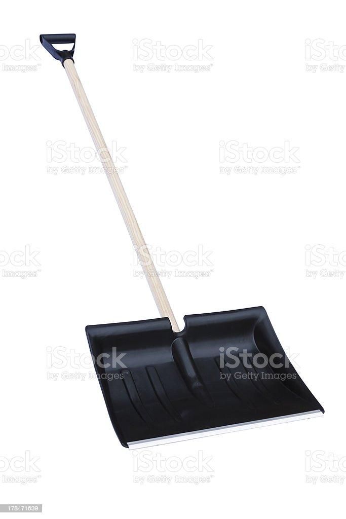 Snow shovel white background stock photo