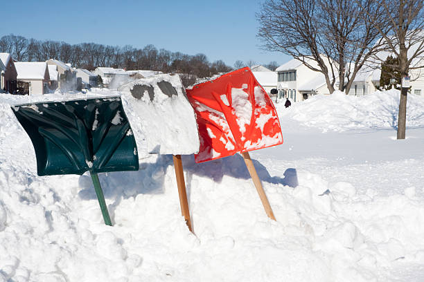 Snow Shovels for Digging Out stock photo