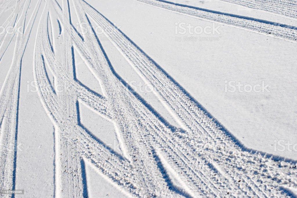 Snow skidmarks royalty-free stock photo
