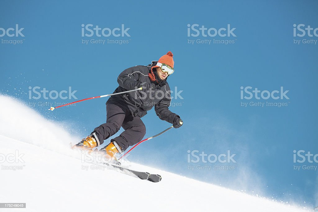 Snow Skier carving royalty-free stock photo