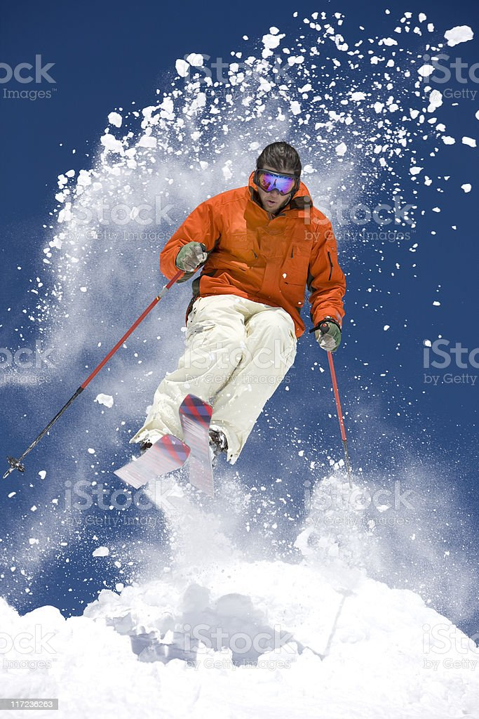 Snow Skier Jumping royalty-free stock photo