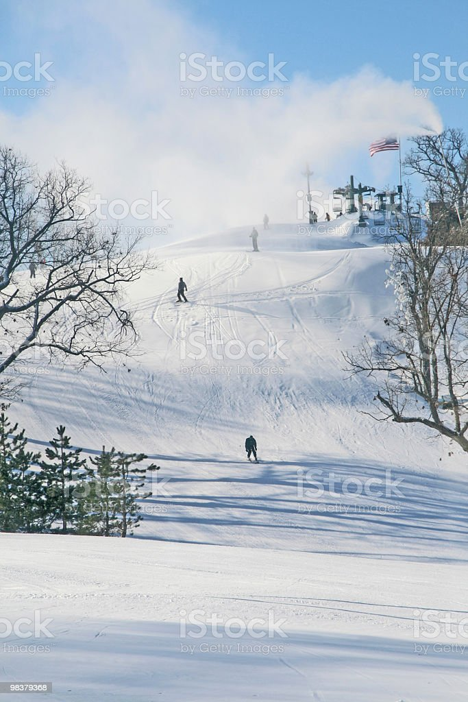 Snow skiing in Wisconsin, USA royalty-free stock photo