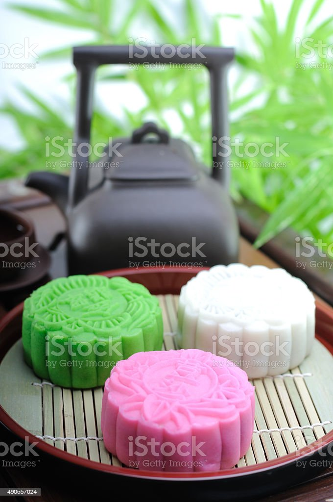 Snow skin mooncake stock photo