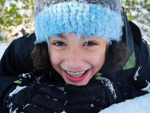 Snow Smile Close up stock photo
