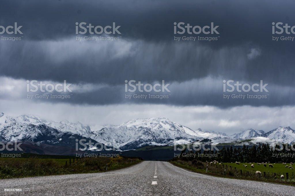Snow storm ahead stock photo
