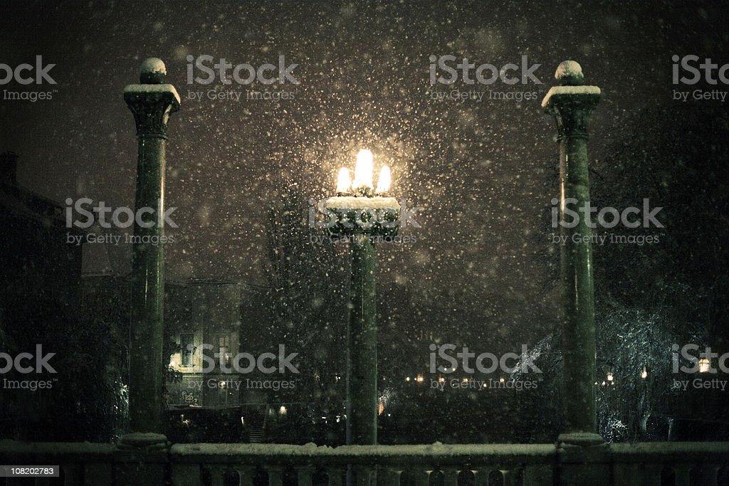Snow Storm at Night royalty-free stock photo