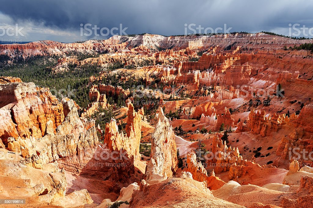 Snow storm at sunset, Bryce Canyon National Park stock photo