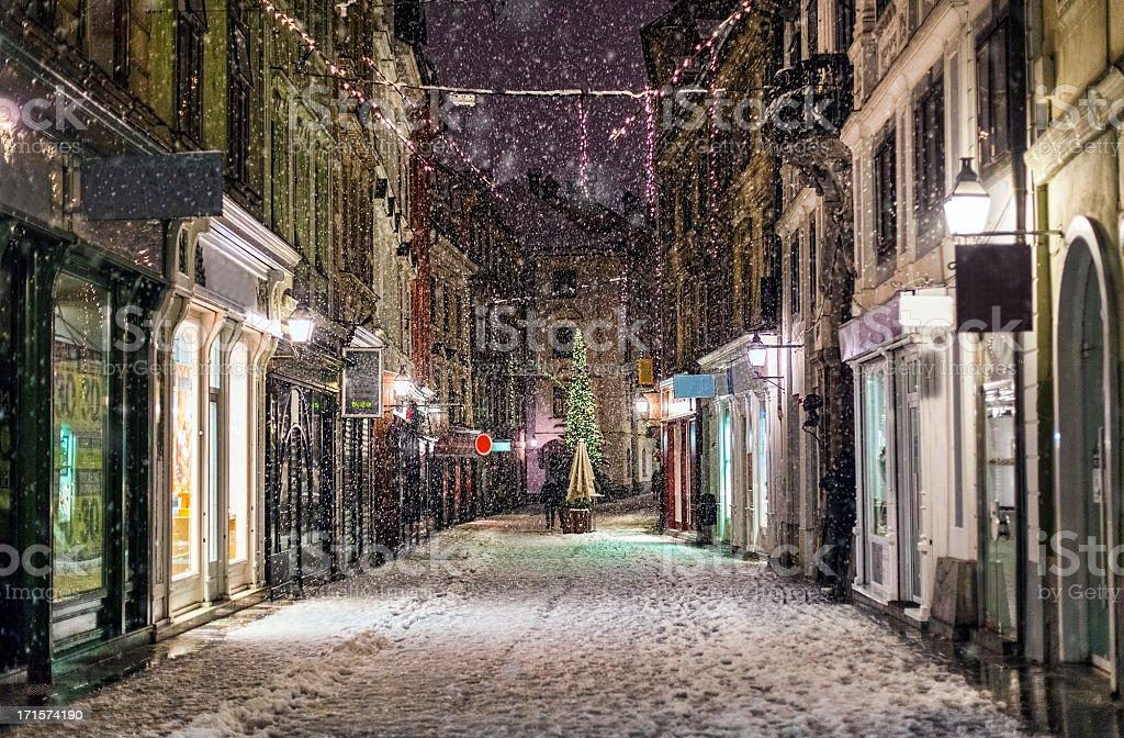 Snow storm in Ljubljana stock photo