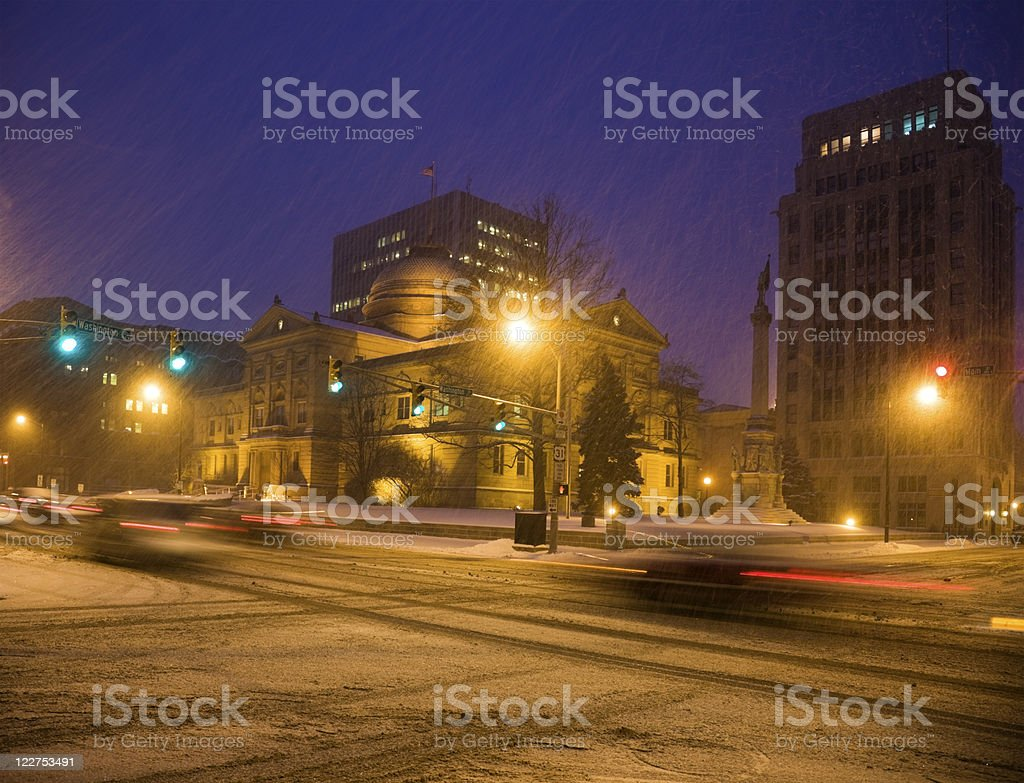 Snow storm in South Bend stock photo