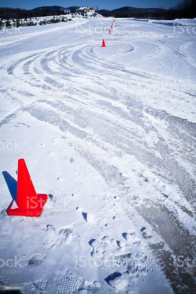 Snow storm on the race track royalty-free stock photo
