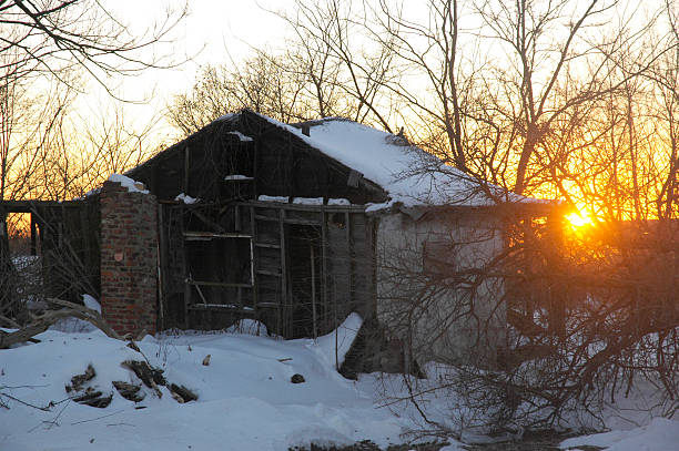 Snow, Sun and Shack stock photo