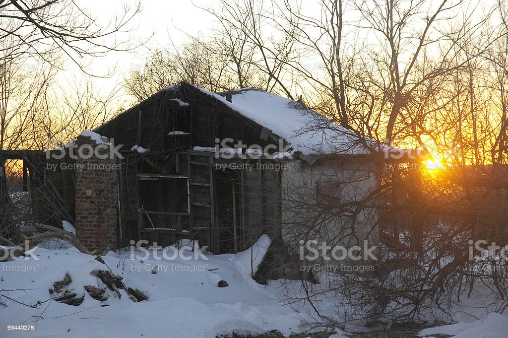 Snow, Sun and Shack stock photo