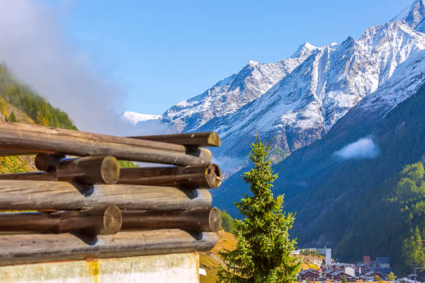 Snow Swiss Alps in Switzerland, Zermatt stock photo