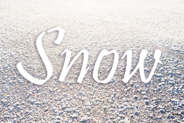 Snow texture background with the word. stock photo