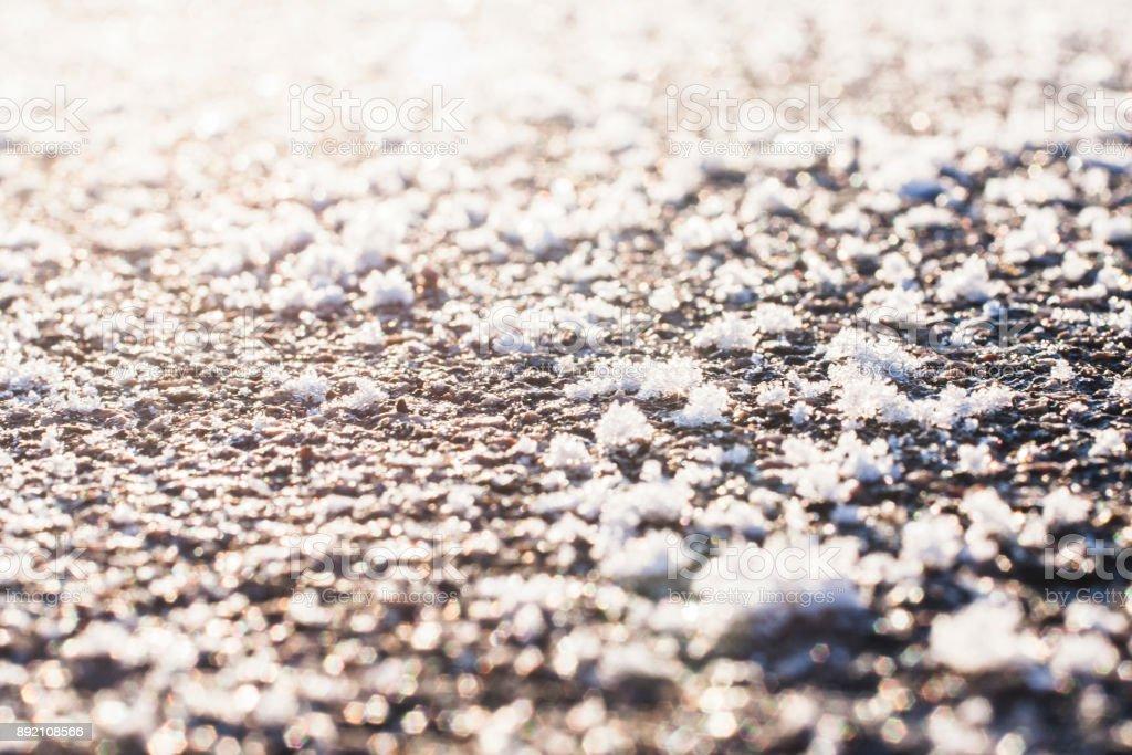 Snow texture macro magnified. stock photo