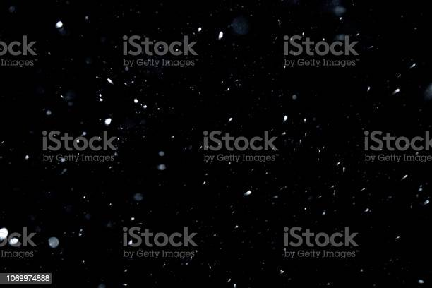 Photo of Snow texture on black background for overlay