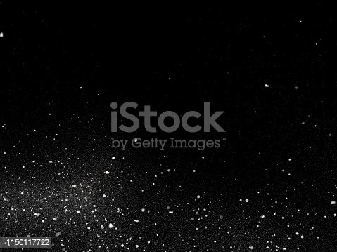 istock Snow texture on black background for overlay 1150117722