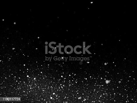 istock Snow texture on black background for overlay 1150117724