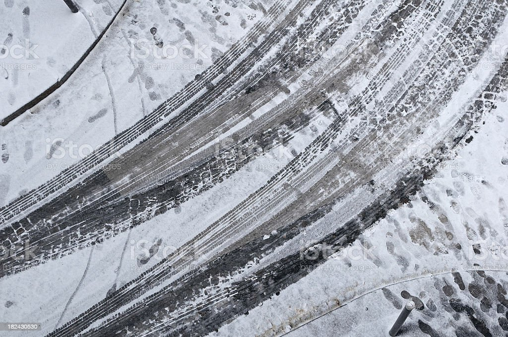 Snow tire track royalty-free stock photo