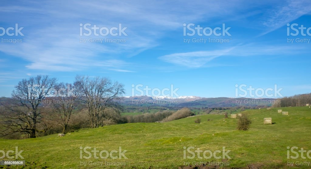 Snow topped English Lake district fell in Springtime stock photo
