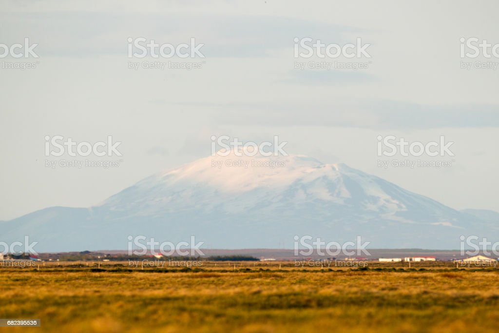 Snow Topped Mountain View In Iceland. royalty-free stock photo