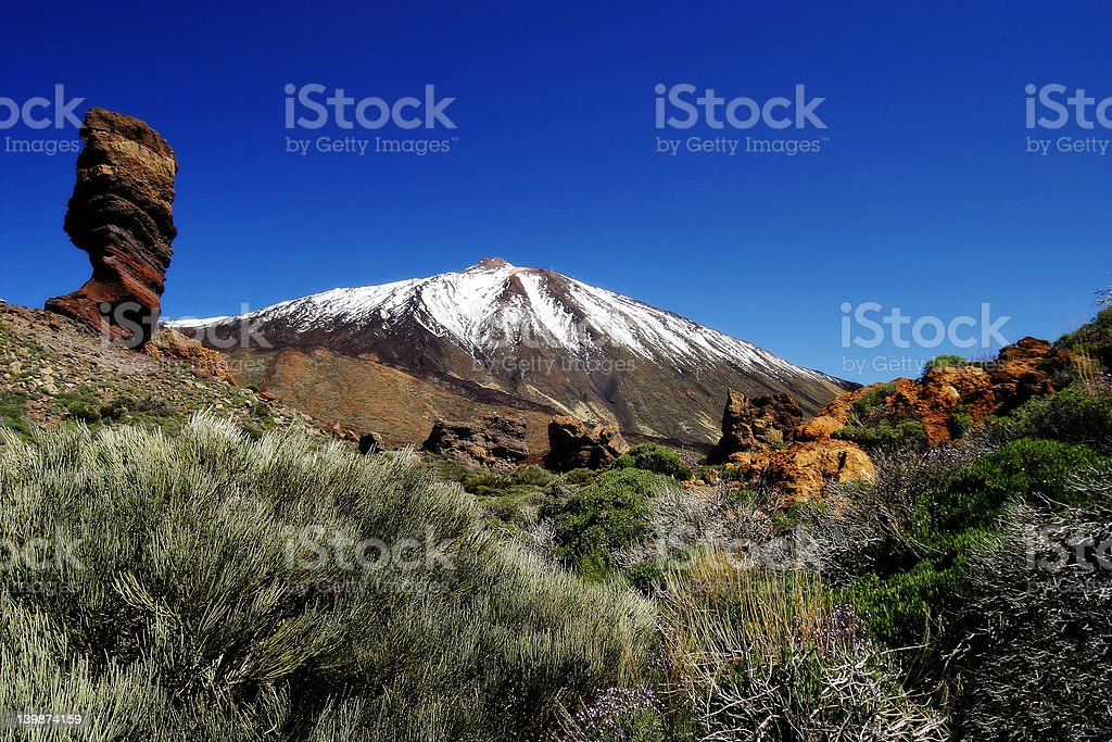 Snow Toppped Volcano stock photo