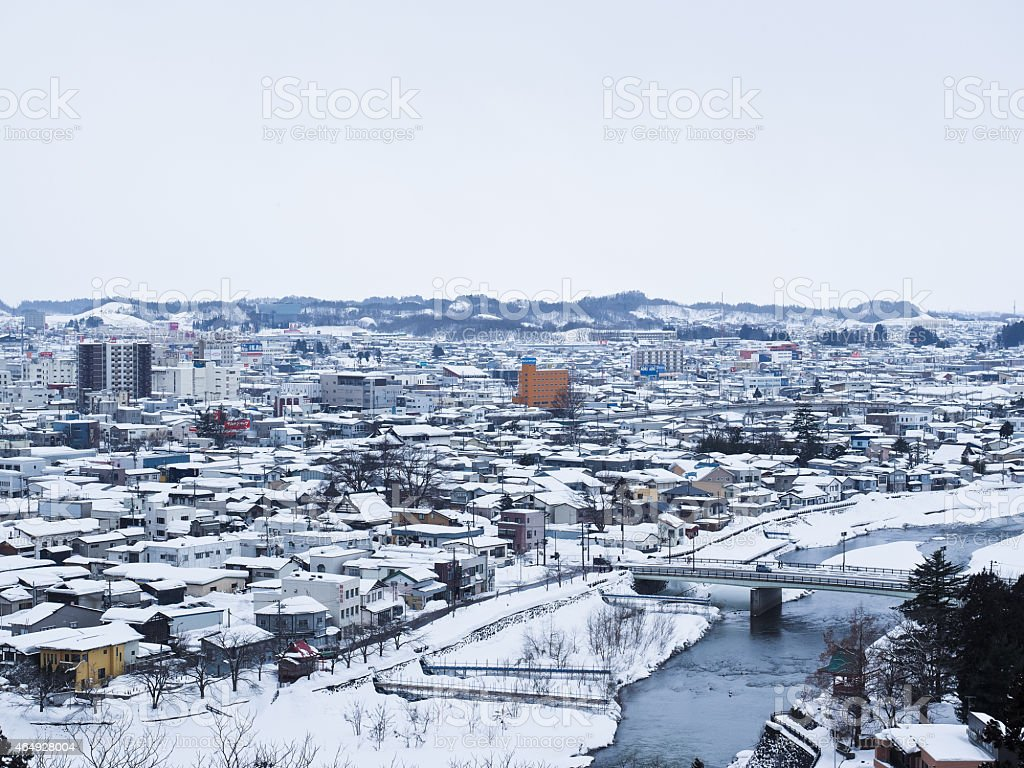 Snow town stock photo