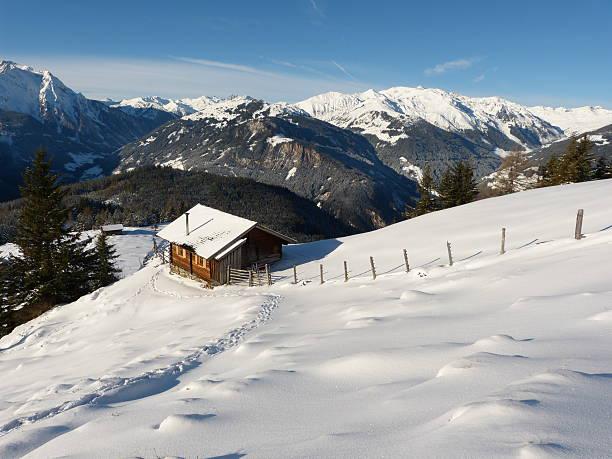 Snow track zum ski-hut – Foto