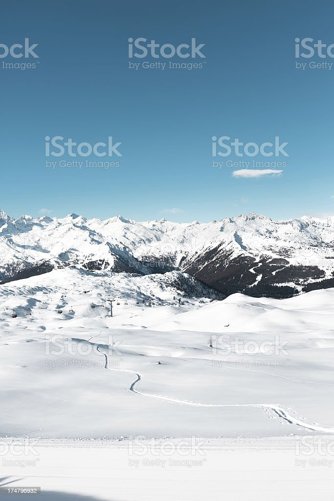 Snow trail in the Alpes royalty-free stock photo